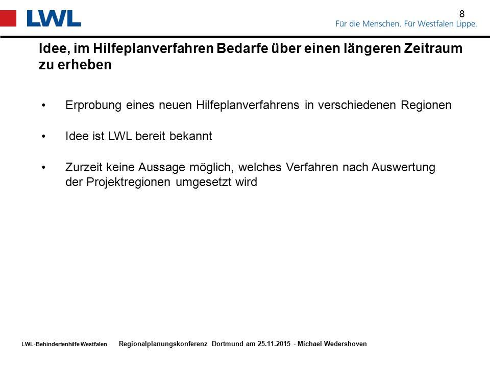 LWL-Behindertenhilfe Westfalen Idee, im Hilfeplanverfahren Bedarfe über einen längeren Zeitraum zu erheben 8 Regionalplanungskonferenz Dortmund am 25.