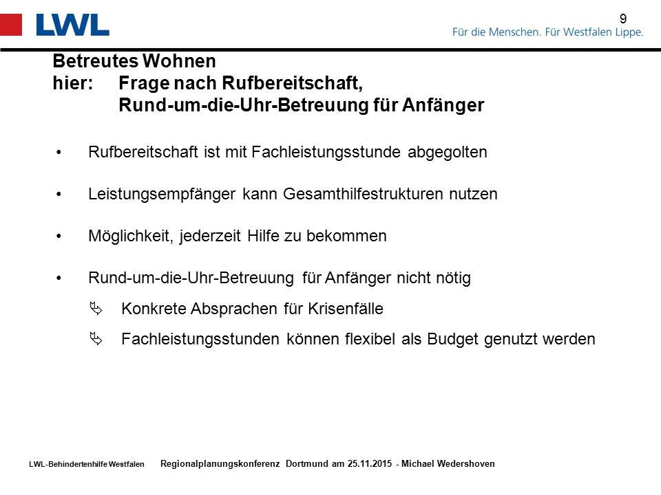 LWL-Behindertenhilfe Westfalen Betreutes Wohnen hier:Frage nach Rufbereitschaft, Rund-um-die-Uhr-Betreuung für Anfänger 9 Regionalplanungskonferenz Do