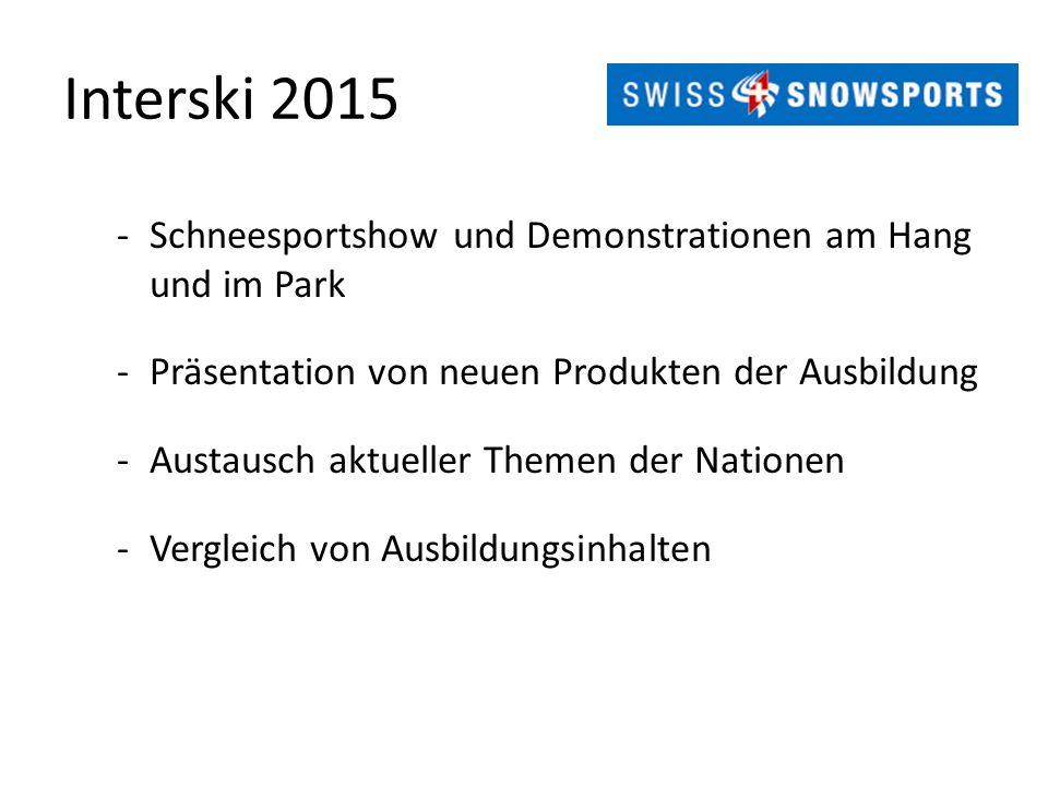 Interski 2015 -Schneesportshow und Demonstrationen am Hang und im Park -Präsentation von neuen Produkten der Ausbildung -Austausch aktueller Themen der Nationen -Vergleich von Ausbildungsinhalten