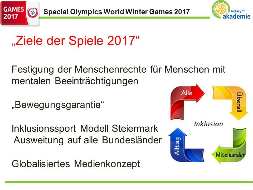 """Special Olympics World Winter Games 2017 """"Ziele der Spiele 2017 Festigung der Menschenrechte für Menschen mit mentalen Beeinträchtigungen """"Bewegungsgarantie Inklusionssport Modell Steiermark Ausweitung auf alle Bundesländer Globalisiertes Medienkonzept"""