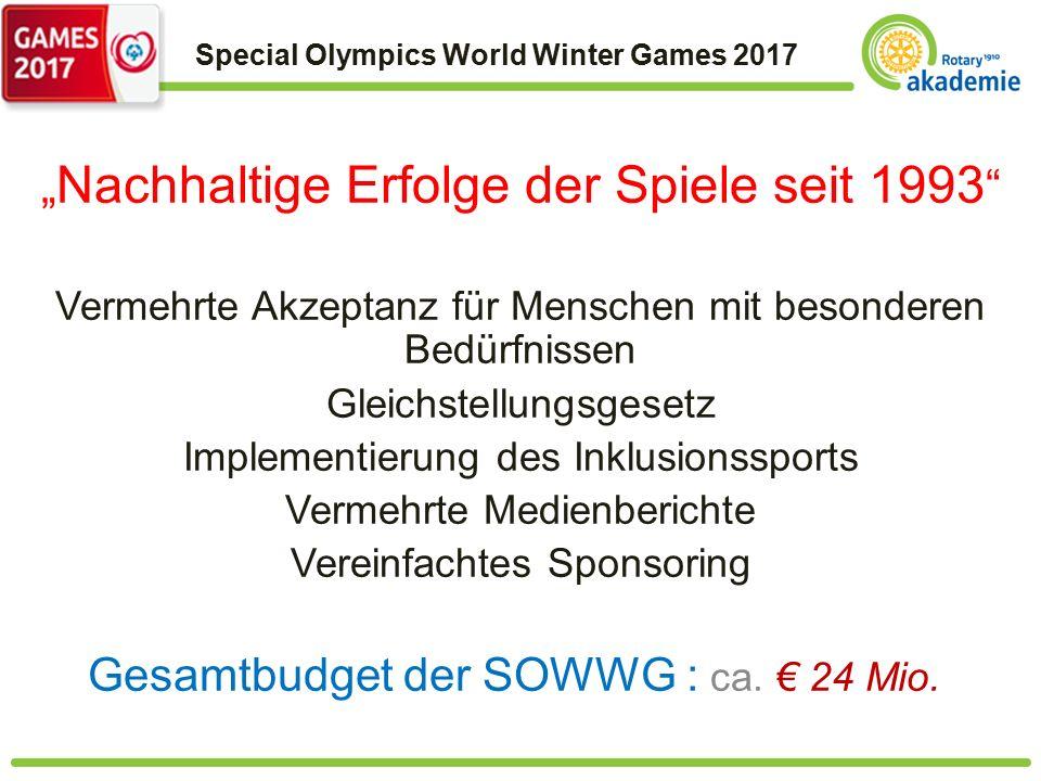 """Special Olympics World Winter Games 2017 """" Nachhaltige Erfolge der Spiele seit 1993 Vermehrte Akzeptanz für Menschen mit besonderen Bedürfnissen Gleichstellungsgesetz Implementierung des Inklusionssports Vermehrte Medienberichte Vereinfachtes Sponsoring Gesamtbudget der SOWWG : ca."""