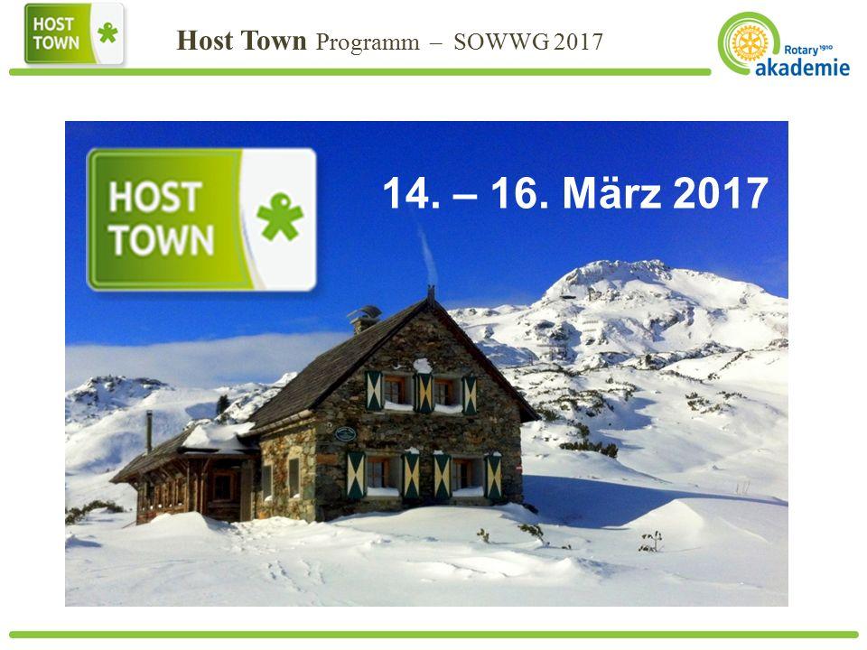 Host Town Programm – SOWWG 2017 Text 14. – 16. März 2017