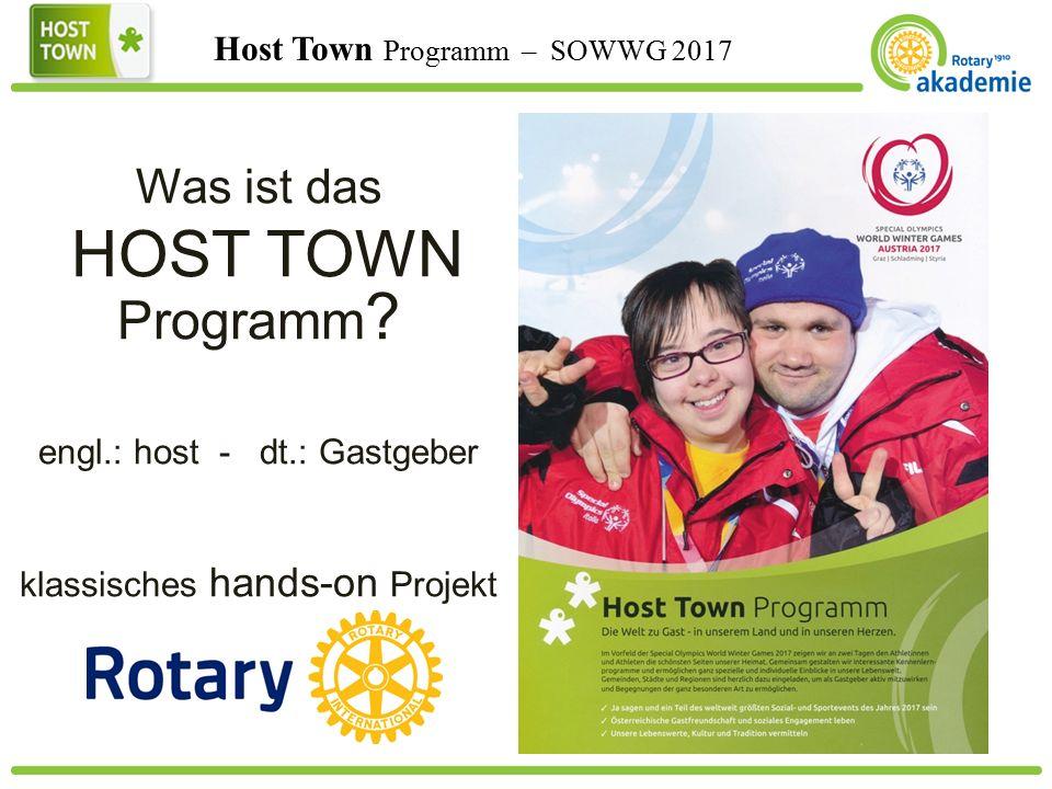 Host Town Programm – SOWWG 2017 Was ist das HOST TOWN Programm .