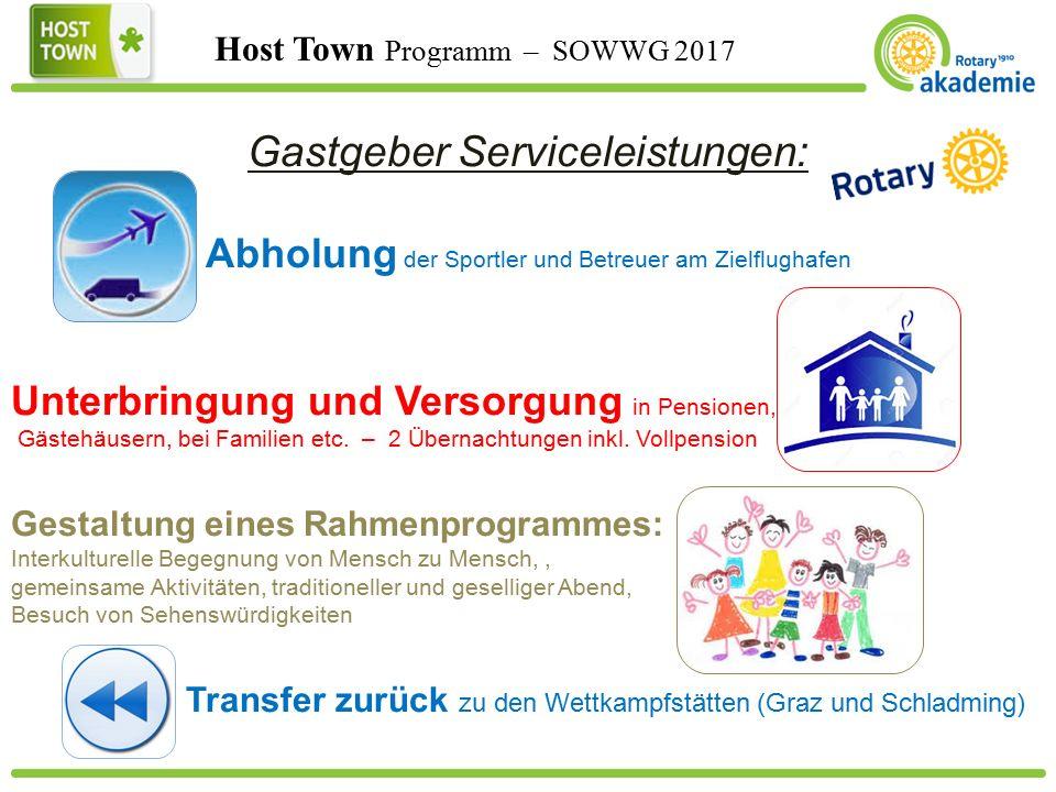 Host Town Programm – SOWWG 2017 Gastgeber Serviceleistungen: Abholung der Sportler und Betreuer am Zielflughafen Unterbringung und Versorgung in Pensionen, Gästehäusern, bei Familien etc.