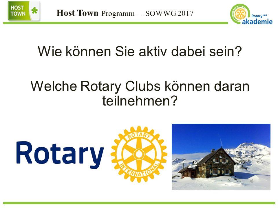 Host Town Programm – SOWWG 2017 Wie können Sie aktiv dabei sein.