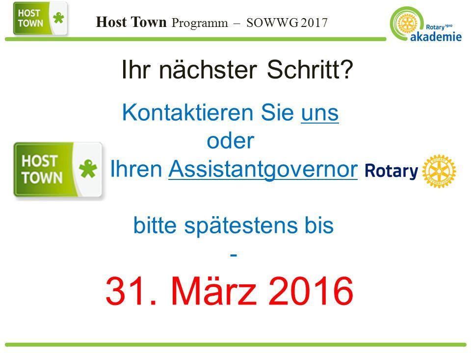 Host Town Programm – SOWWG 2017 Ihr nächster Schritt.