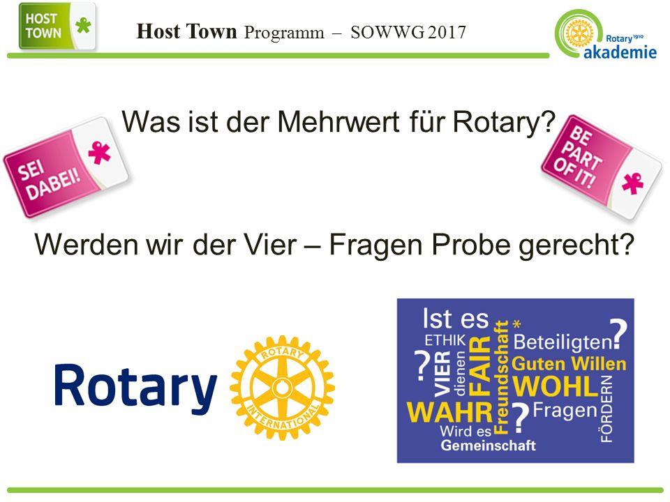 Host Town Programm – SOWWG 2017 Was ist der Mehrwert für Rotary.