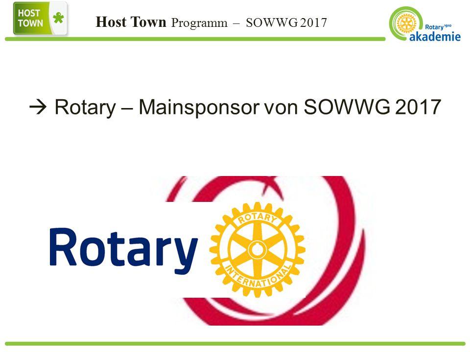 Host Town Programm – SOWWG 2017  Rotary – Mainsponsor von SOWWG 2017