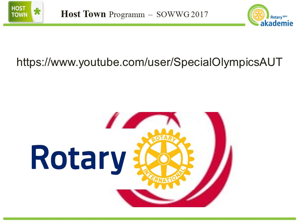 Host Town Programm – SOWWG 2017 https://www.youtube.com/user/SpecialOlympicsAUT
