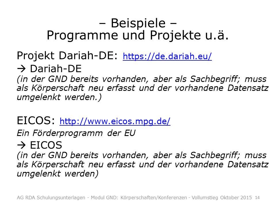 – Beispiele – Programme und Projekte u.ä.