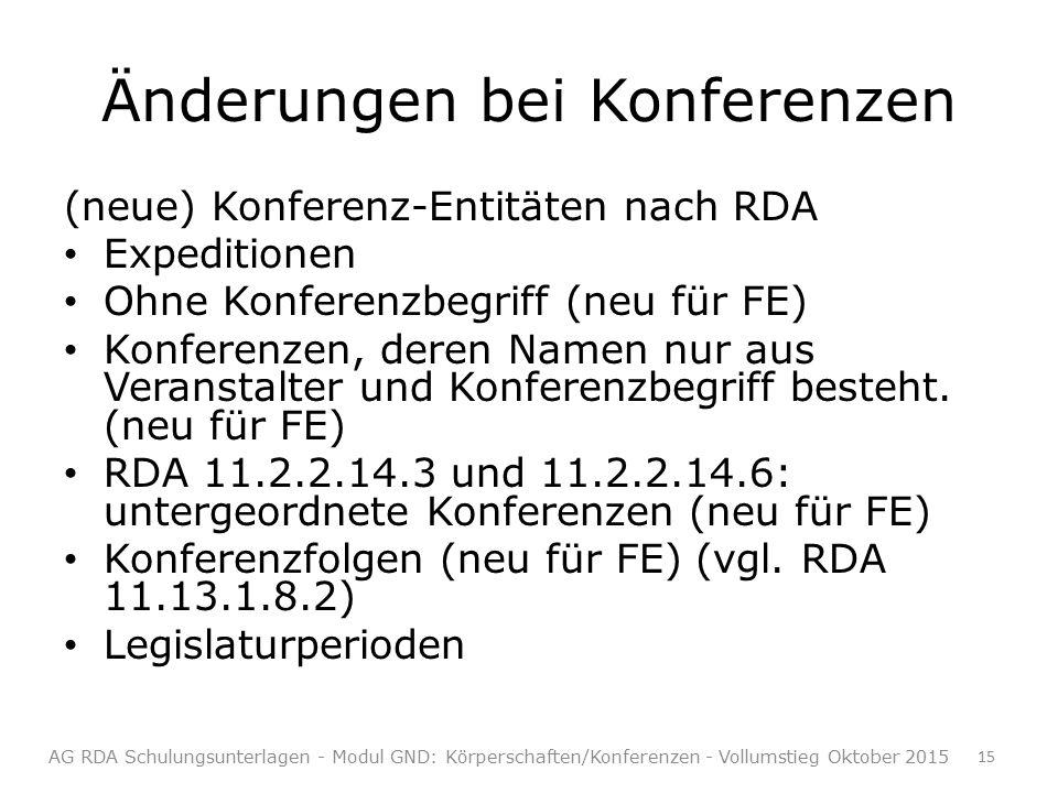 Änderungen bei Konferenzen (neue) Konferenz-Entitäten nach RDA Expeditionen Ohne Konferenzbegriff (neu für FE) Konferenzen, deren Namen nur aus Veranstalter und Konferenzbegriff besteht.