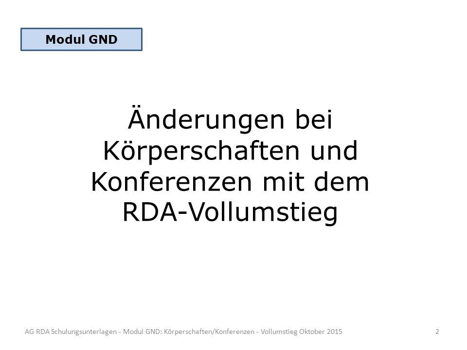 Änderungen bei Körperschaften und Konferenzen mit dem RDA-Vollumstieg AG RDA Schulungsunterlagen - Modul GND: Körperschaften/Konferenzen - Vollumstieg Oktober 2015 Modul GND 2