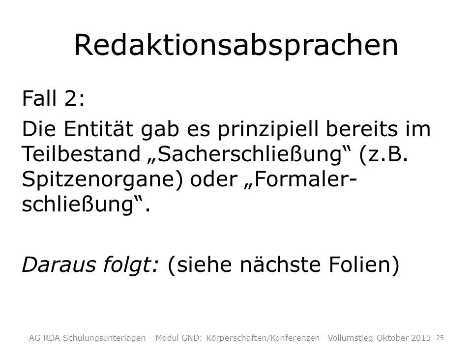 """Redaktionsabsprachen Fall 2: Die Entität gab es prinzipiell bereits im Teilbestand """"Sacherschließung (z.B."""