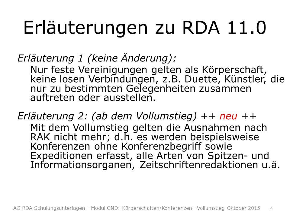 Erläuterungen zu RDA 11.0 Erläuterung 1 (keine Änderung): Nur feste Vereinigungen gelten als Körperschaft, keine losen Verbindungen, z.B.