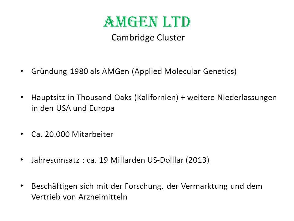 Amgen Ltd Cambridge Cluster Gründung 1980 als AMGen (Applied Molecular Genetics) Hauptsitz in Thousand Oaks (Kalifornien) + weitere Niederlassungen in