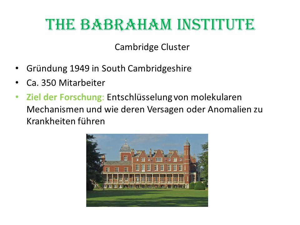 The Babraham Institute Cambridge Cluster Gründung 1949 in South Cambridgeshire Ca. 350 Mitarbeiter Ziel der Forschung: Entschlüsselung von molekularen