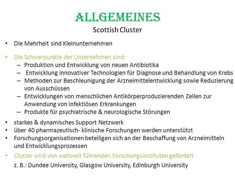 Allgemeines Scottish Cluster Die Mehrheit sind Kleinunternehmen Die Schwerpunkte der Unternehmen sind: – Produktion und Entwicklung von neuen Antibiot