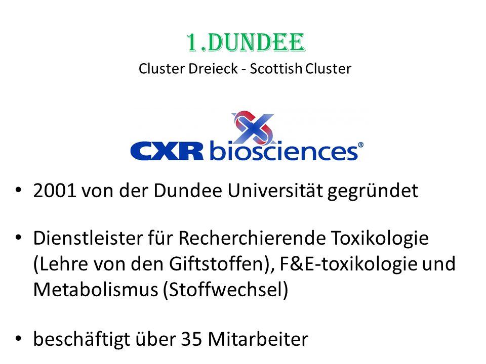 1.Dundee Cluster Dreieck - Scottish Cluster 2001 von der Dundee Universität gegründet Dienstleister für Recherchierende Toxikologie (Lehre von den Gif