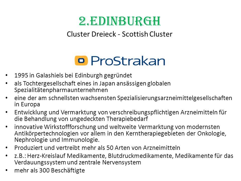 2.Edinburgh Cluster Dreieck - Scottish Cluster 1995 in Galashiels bei Edinburgh gegründet als Tochtergesellschaft eines in Japan ansässigen globalen S