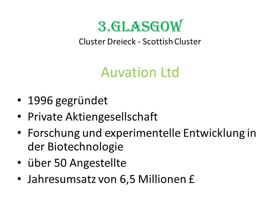 3.Glasgow Cluster Dreieck - Scottish Cluster Auvation Ltd 1996 gegründet Private Aktiengesellschaft Forschung und experimentelle Entwicklung in der Bi