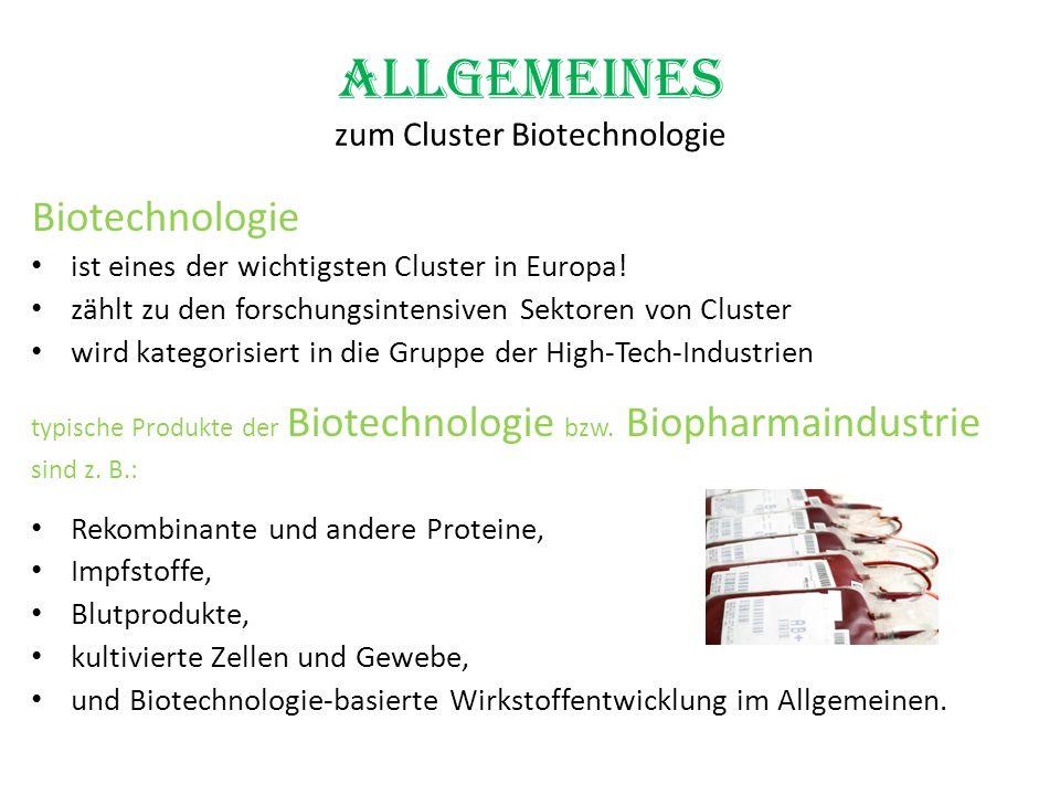 Allgemeines zum Cluster Biotechnologie Biotechnologie ist eines der wichtigsten Cluster in Europa! zählt zu den forschungsintensiven Sektoren von Clus