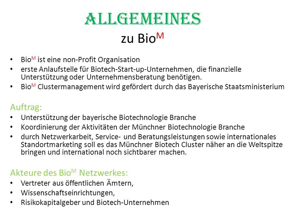Allgemeines zu Bio M Bio M ist eine non-Profit Organisation erste Anlaufstelle für Biotech-Start-up-Unternehmen, die finanzielle Unterstützung oder Un