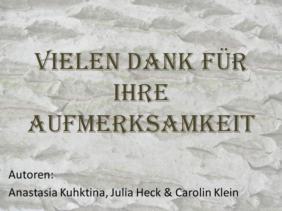 Vielen Dank für Ihre Aufmerksamkeit Autoren: Anastasia Kuhktina, Julia Heck & Carolin Klein