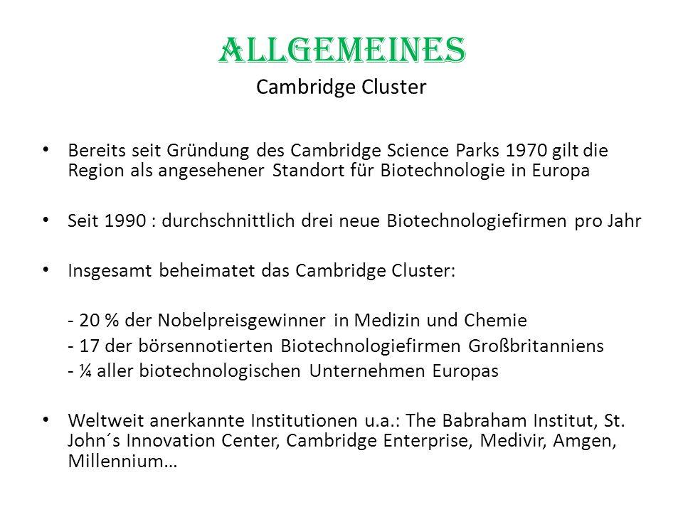 Allgemeines Cambridge Cluster Bereits seit Gründung des Cambridge Science Parks 1970 gilt die Region als angesehener Standort für Biotechnologie in Eu