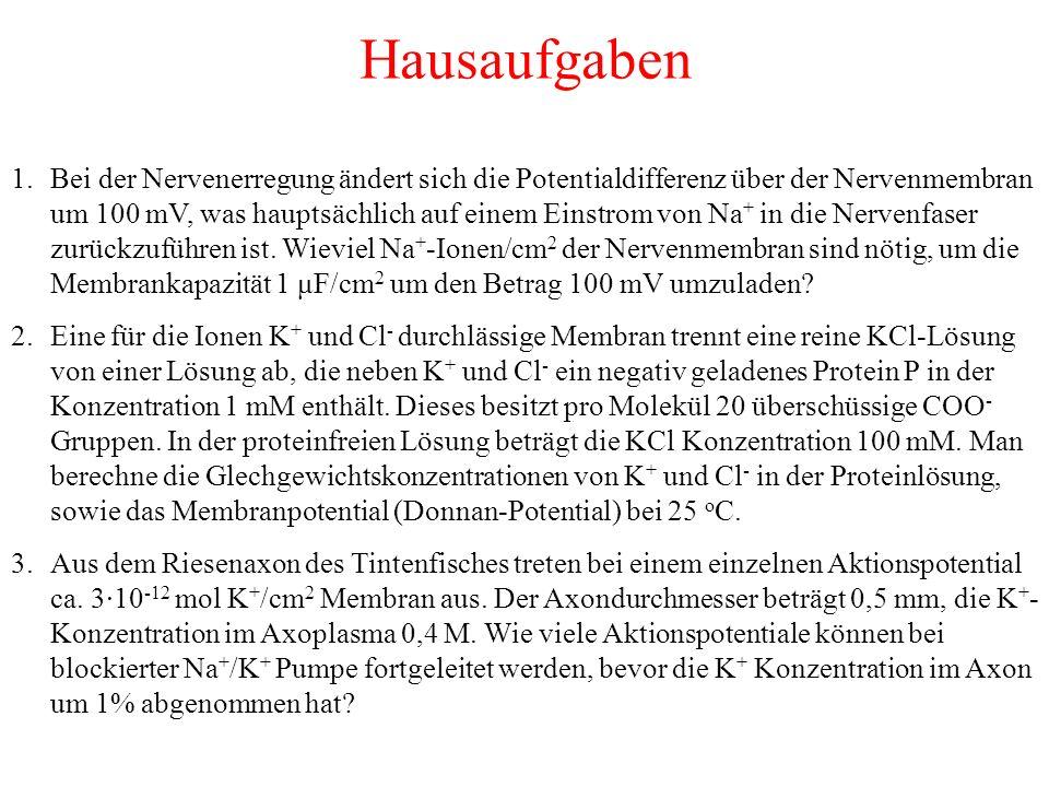 Hausaufgaben 1.Bei der Nervenerregung ändert sich die Potentialdifferenz über der Nervenmembran um 100 mV, was hauptsächlich auf einem Einstrom von Na + in die Nervenfaser zurückzuführen ist.