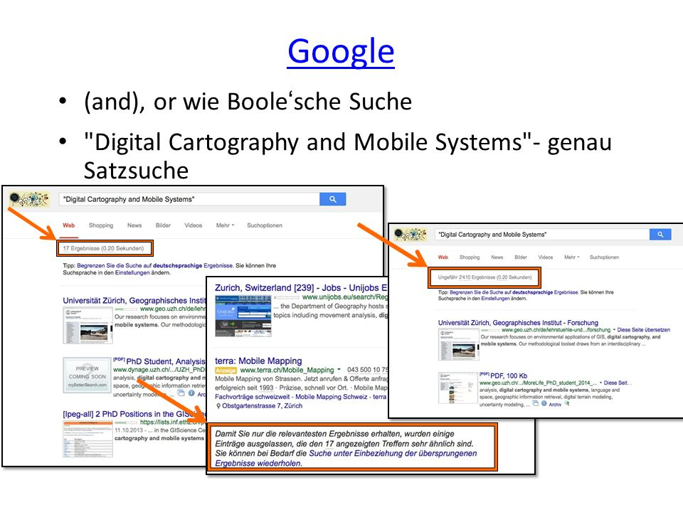 Google (and), or wie Boole'sche Suche Digital Cartography and Mobile Systems - genau Satzsuche