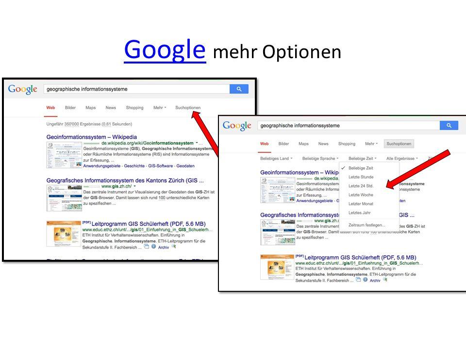 GoogleGoogle mehr Optionen