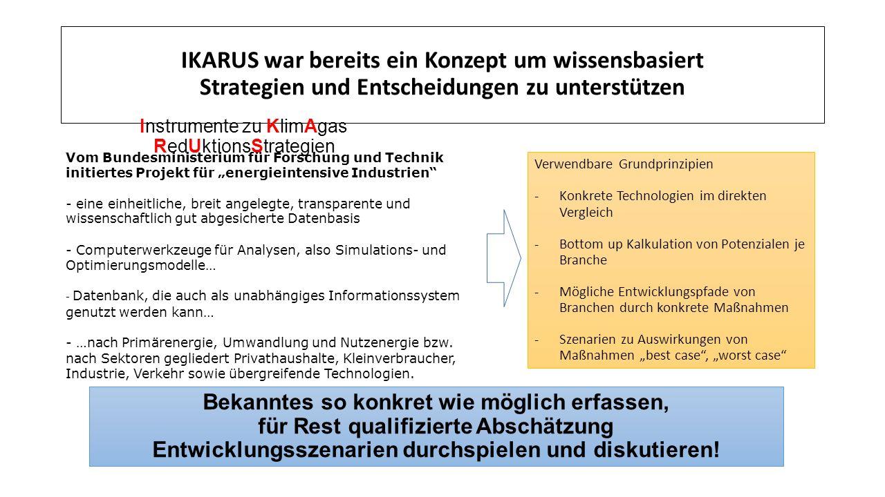 IKARUS war bereits ein Konzept um wissensbasiert Strategien und Entscheidungen zu unterstützen Bekanntes so konkret wie möglich erfassen, für Rest qualifizierte Abschätzung Entwicklungsszenarien durchspielen und diskutieren.