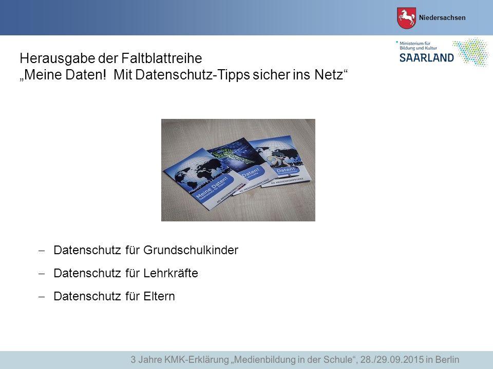 """Herausgabe der Faltblattreihe """"Meine Daten! Mit Datenschutz-Tipps sicher ins Netz""""  Datenschutz für Grundschulkinder  Datenschutz für Lehrkräfte  D"""