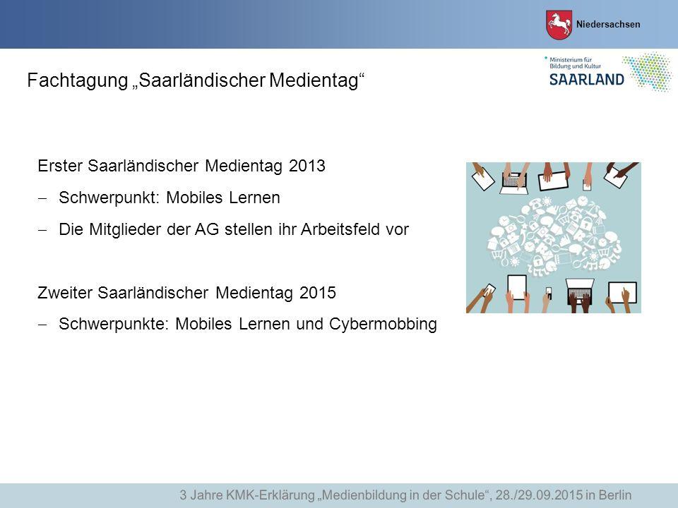 """Niedersachsen Fachtagung """"Saarländischer Medientag"""" Erster Saarländischer Medientag 2013  Schwerpunkt: Mobiles Lernen  Die Mitglieder der AG stellen"""