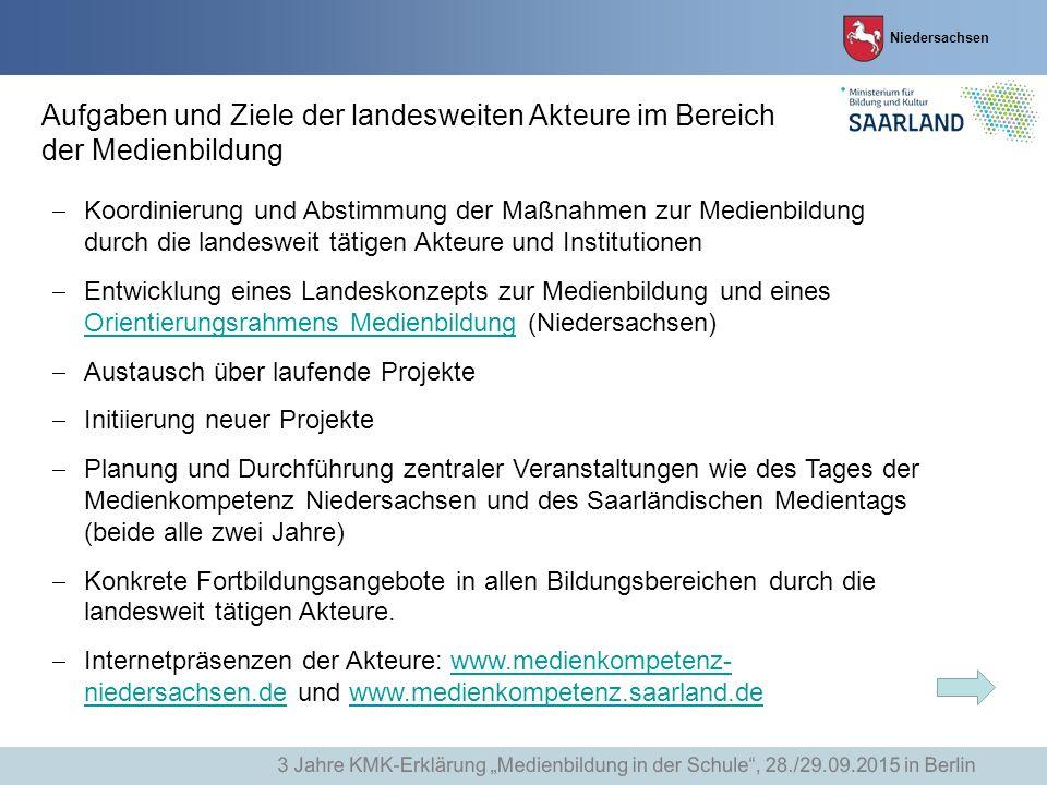 Niedersachsen Aufgaben und Ziele der landesweiten Akteure im Bereich der Medienbildung  Koordinierung und Abstimmung der Maßnahmen zur Medienbildung