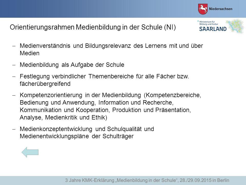 Niedersachsen Orientierungsrahmen Medienbildung in der Schule (NI)  Medienverständnis und Bildungsrelevanz des Lernens mit und über Medien  Medienbi