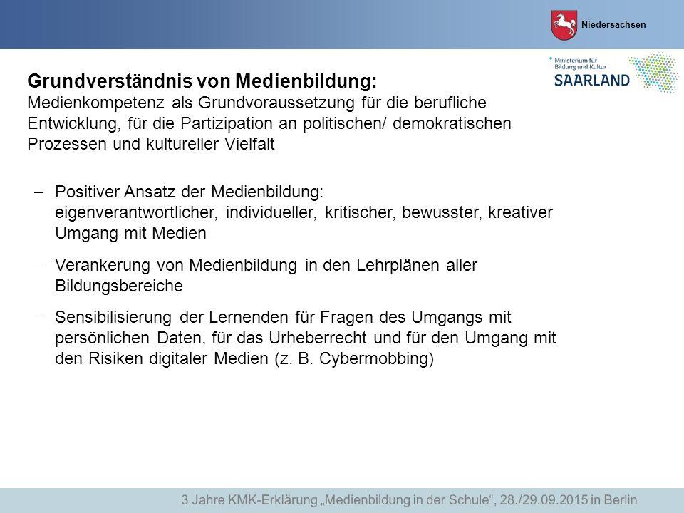 Niedersachsen Grundverständnis von Medienbildung: Medienkompetenz als Grundvoraussetzung für die berufliche Entwicklung, für die Partizipation an poli