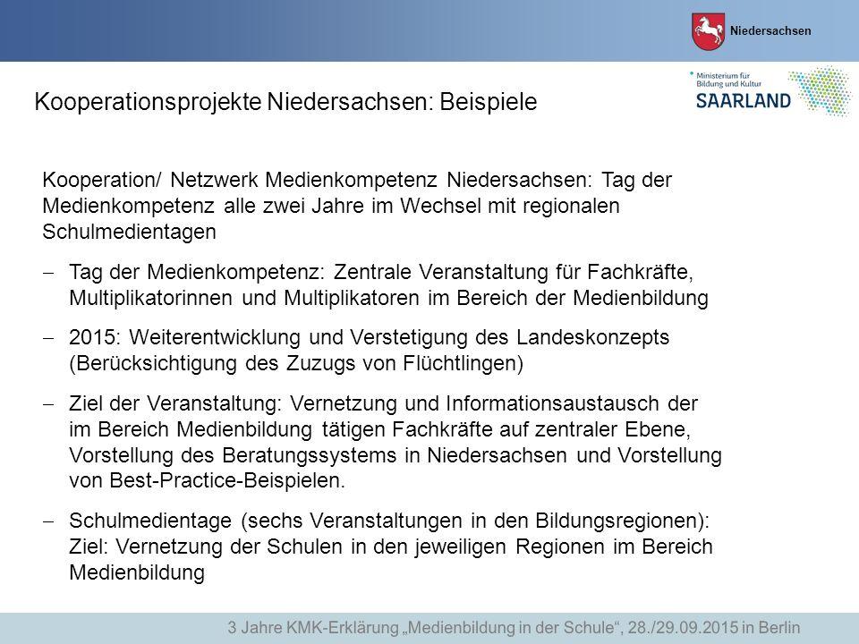 Niedersachsen Kooperationsprojekte Niedersachsen: Beispiele Kooperation/ Netzwerk Medienkompetenz Niedersachsen: Tag der Medienkompetenz alle zwei Jah