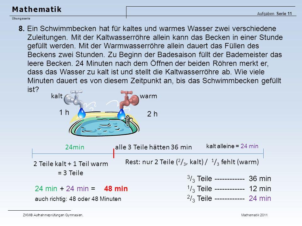 8. Ein Schwimmbecken hat für kaltes und warmes Wasser zwei verschiedene Zuleitungen. Mit der Kaltwasserröhre allein kann das Becken in einer Stunde ge