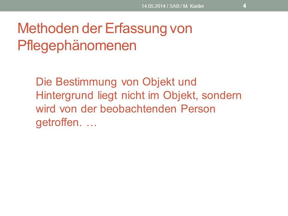 Methoden der Erfassung von Pflegephänomenen 14.05.2014 / SAB / M.