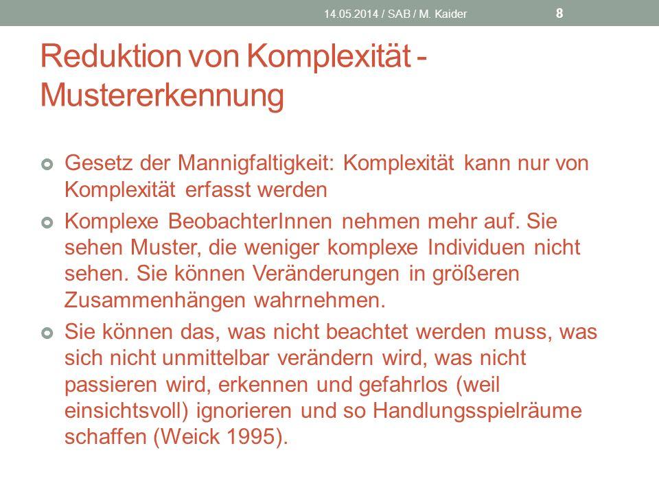 Reduktion von Komplexität - Mustererkennung 14.05.2014 / SAB / M.