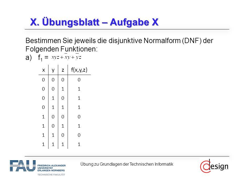 X. Übungsblatt – Aufgabe X Bestimmen Sie jeweils die disjunktive Normalform (DNF) der Folgenden Funktionen: a)f 1 = Übung zu Grundlagen der Technische