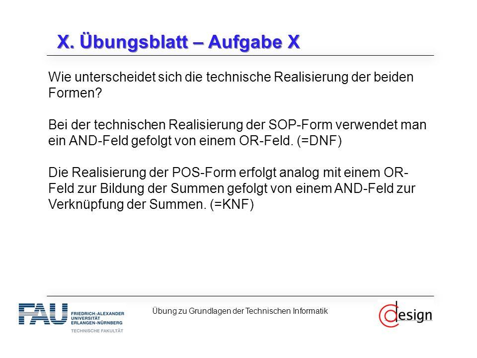 X. Übungsblatt – Aufgabe X Wie unterscheidet sich die technische Realisierung der beiden Formen.