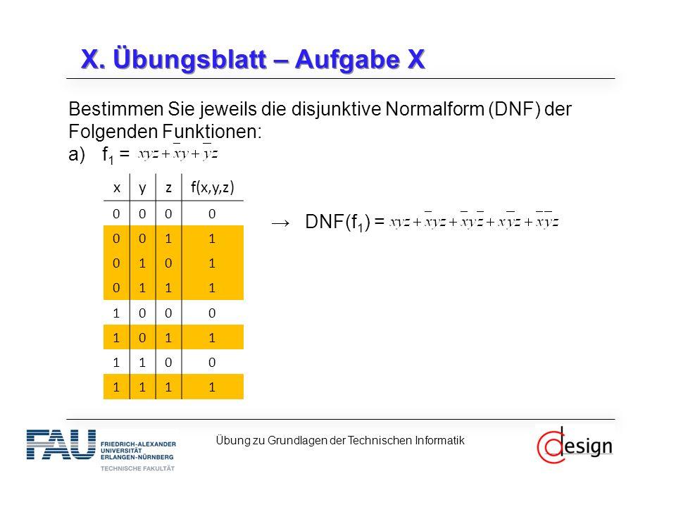 X. Übungsblatt – Aufgabe X Bestimmen Sie jeweils die disjunktive Normalform (DNF) der Folgenden Funktionen: a)f 1 = →DNF(f 1 ) = Übung zu Grundlagen d