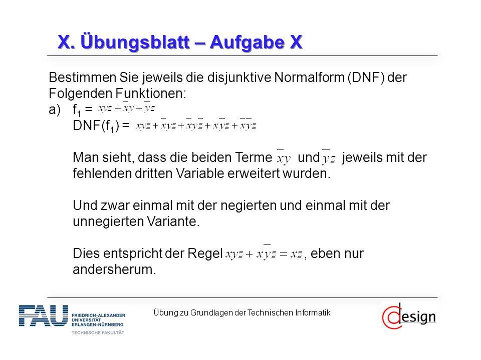 X. Übungsblatt – Aufgabe X Bestimmen Sie jeweils die disjunktive Normalform (DNF) der Folgenden Funktionen: a)f 1 = DNF(f 1 ) = Man sieht, dass die be