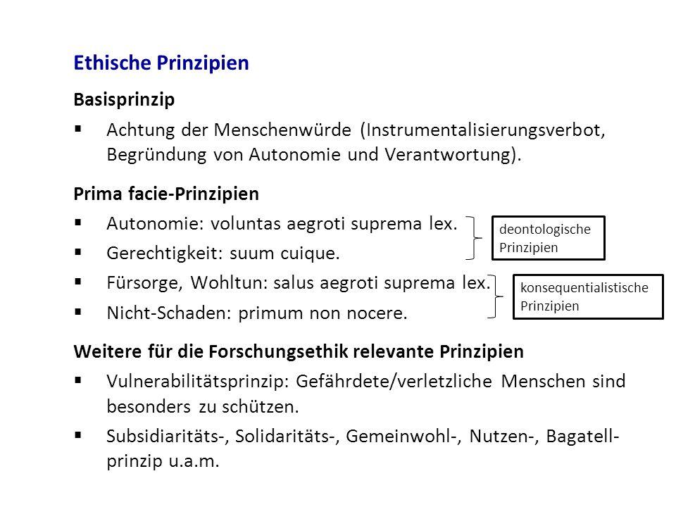 Ethische Prinzipien Basisprinzip  Achtung der Menschenwürde (Instrumentalisierungsverbot, Begründung von Autonomie und Verantwortung). Prima facie-Pr