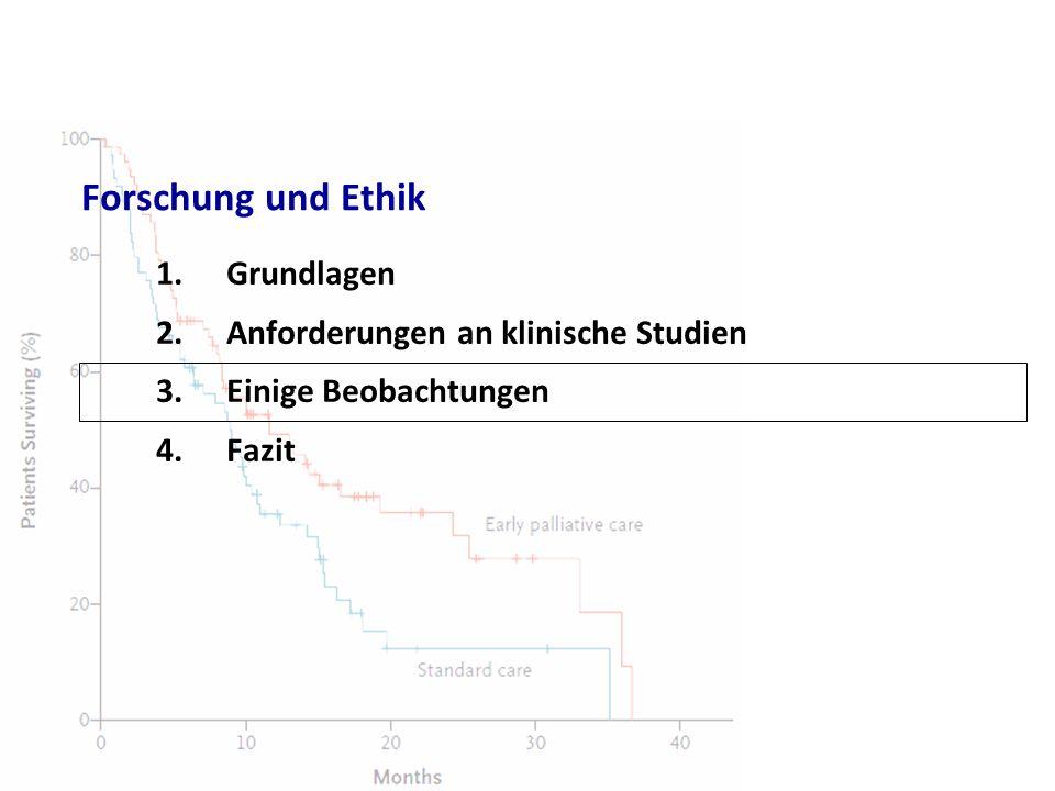 Forschung und Ethik 1.Grundlagen 2.Anforderungen an klinische Studien 3.Einige Beobachtungen 4.Fazit