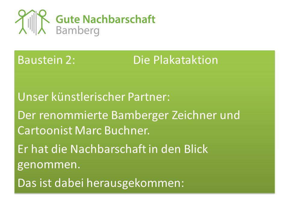 Baustein 2: Die Plakataktion Unser künstlerischer Partner: Der renommierte Bamberger Zeichner und Cartoonist Marc Buchner. Er hat die Nachbarschaft in