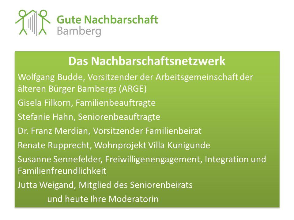 Das Nachbarschaftsnetzwerk Wolfgang Budde, Vorsitzender der Arbeitsgemeinschaft der älteren Bürger Bambergs (ARGE) Gisela Filkorn, Familienbeauftragte Stefanie Hahn, Seniorenbeauftragte Dr.