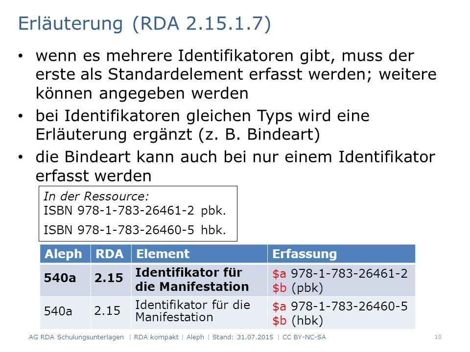 Erläuterung (RDA 2.15.1.7) wenn es mehrere Identifikatoren gibt, muss der erste als Standardelement erfasst werden; weitere können angegeben werden bei Identifikatoren gleichen Typs wird eine Erläuterung ergänzt (z.